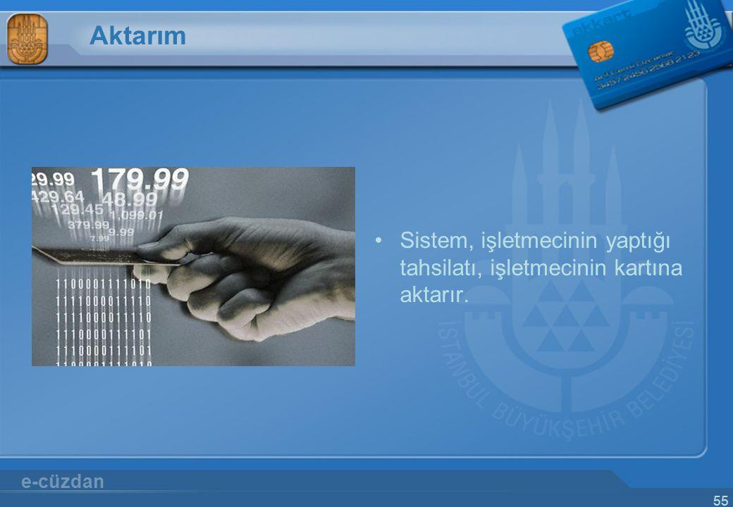 55 Aktarım Sistem, işletmecinin yaptığı tahsilatı, işletmecinin kartına aktarır. e-cüzdan