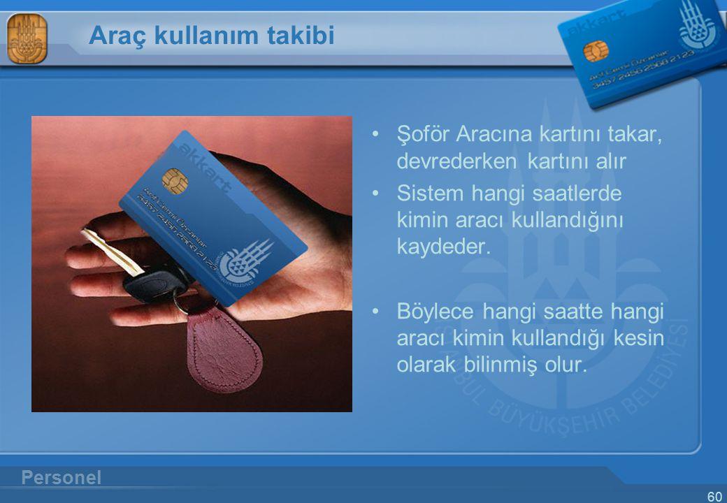 60 Araç kullanım takibi Şoför Aracına kartını takar, devrederken kartını alır Sistem hangi saatlerde kimin aracı kullandığını kaydeder. Böylece hangi