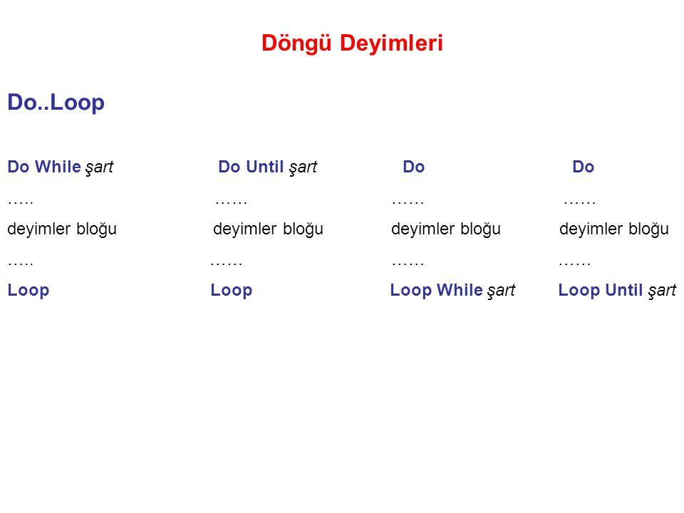 Döngü Deyimleri Do..Loop Do While şart Do Until şart Do Do ….. …… …… …… deyimler bloğu deyimler bloğu ….. …… …… …… Loop Loop Loop While şart Loop Unti