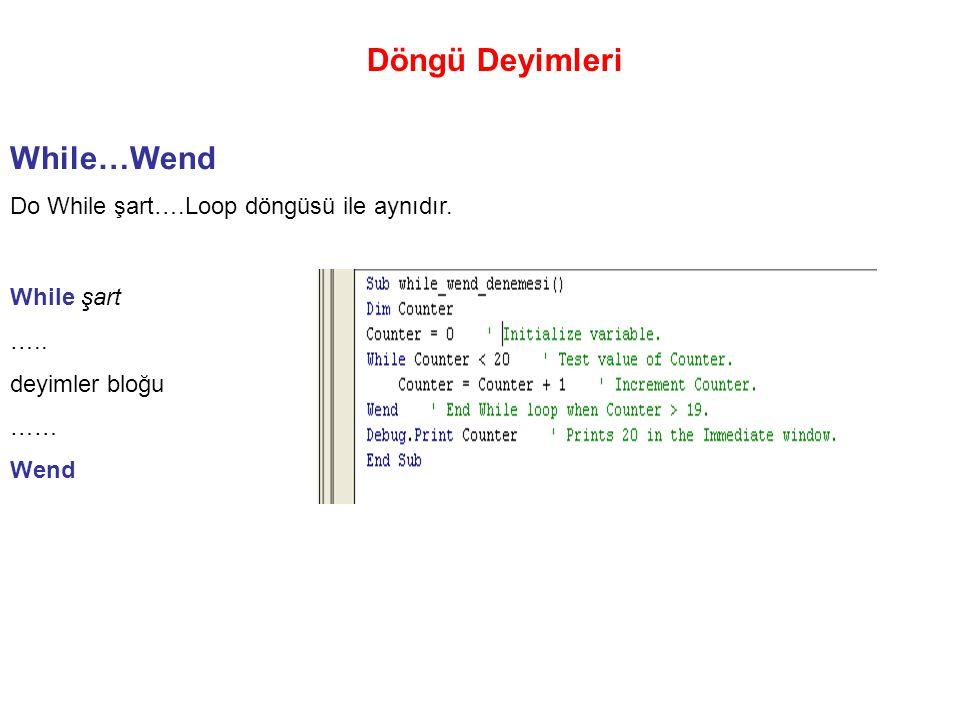 Döngü Deyimleri While…Wend Do While şart….Loop döngüsü ile aynıdır. While şart ….. deyimler bloğu …… Wend