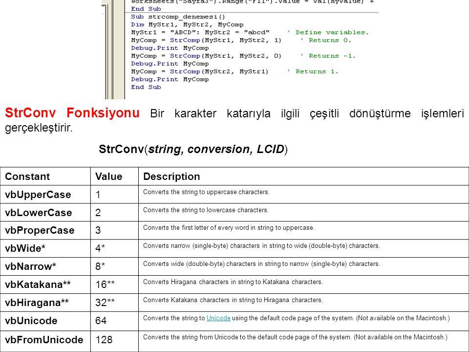 StrConv Fonksiyonu Bir karakter katarıyla ilgili çeşitli dönüştürme işlemleri gerçekleştirir. StrConv(string, conversion, LCID) ConstantValueDescripti