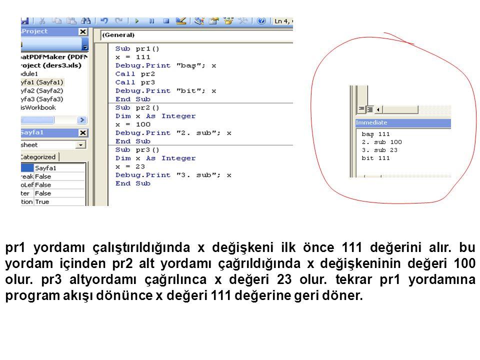 Opertörler Atama Matematiksel Karakter Katarı Karşılaştırma x = y Set obj1 = obj2 + - * / \ ^ Mod & kişi= Ahmet & Karacalı = <> >= <= obj1 Is obj2 string like patern Mantıksal And Or Not Xor Eqv Imp