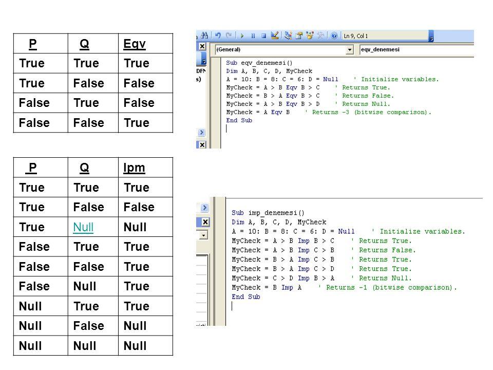 InStr, InStrRev Fonksiyonları Bir karakter katarının diğer bir karakter katarı içinde geçtiği ilk yeri bulmak için kullanılır.