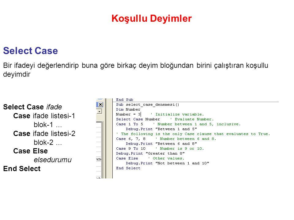 Koşullu Deyimler Select Case Bir ifadeyi değerlendirip buna göre birkaç deyim bloğundan birini çalıştıran koşullu deyimdir Select Case ifade Case ifad
