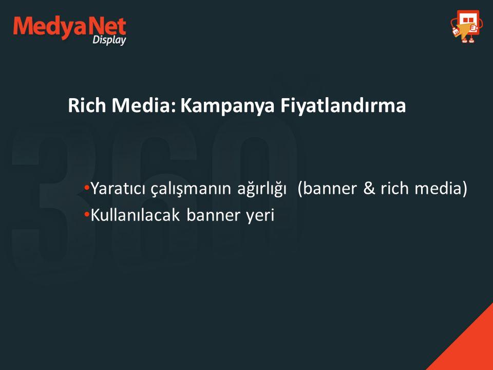 Yaratıcı çalışmanın ağırlığı (banner & rich media) Kullanılacak banner yeri Rich Media: Kampanya Fiyatlandırma