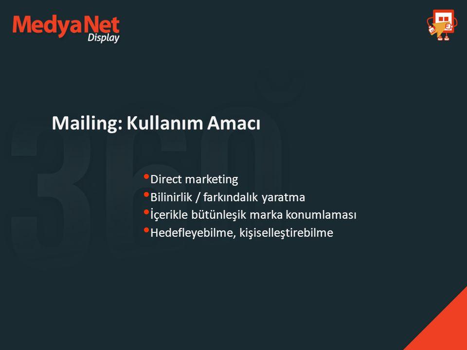 Direct marketing Bilinirlik / farkındalık yaratma İçerikle bütünleşik marka konumlaması Hedefleyebilme, kişiselleştirebilme Mailing: Kullanım Amacı