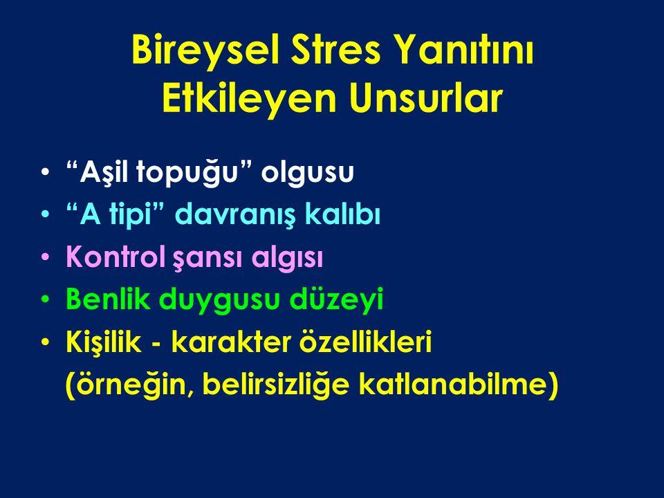 Bireysel Stres Yanıtını Etkileyen Unsurlar Aşil topuğu olgusu A tipi davranış kalıbı Kontrol şansı algısı Benlik duygusu düzeyi Kişilik - karakter özellikleri (örneğin, belirsizliğe katlanabilme)