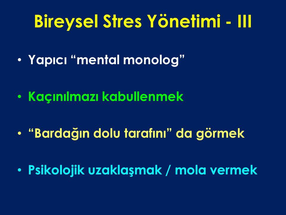 Bireysel Stres Yönetimi - III Yapıcı mental monolog Kaçınılmazı kabullenmek Bardağın dolu tarafını da görmek Psikolojik uzaklaşmak / mola vermek