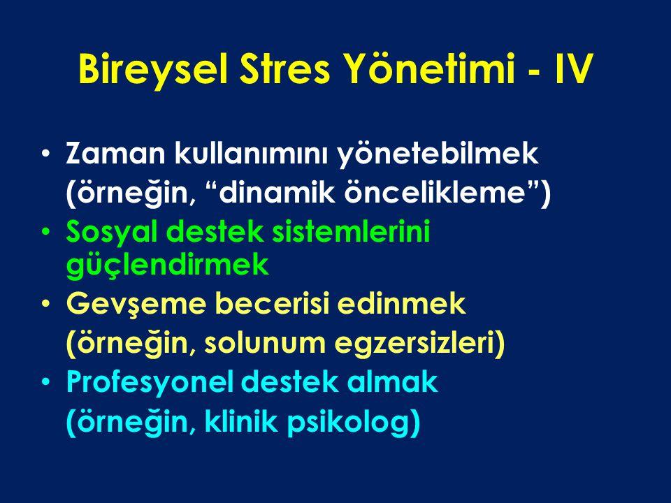 Bireysel Stres Yönetimi - IV Zaman kullanımını yönetebilmek (örneğin, dinamik öncelikleme ) Sosyal destek sistemlerini güçlendirmek Gevşeme becerisi edinmek (örneğin, solunum egzersizleri) Profesyonel destek almak (örneğin, klinik psikolog)