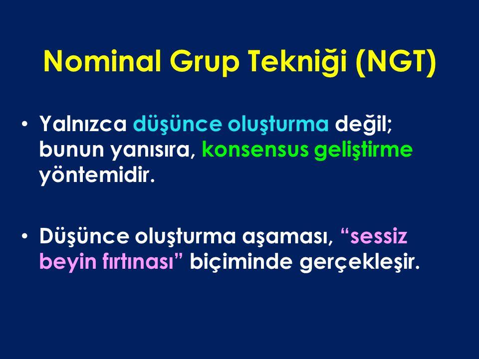 """Nominal Grup Tekniği (NGT) Yalnızca düşünce oluşturma değil; bunun yanısıra, konsensus geliştirme yöntemidir. Düşünce oluşturma aşaması, """"sessiz beyin"""