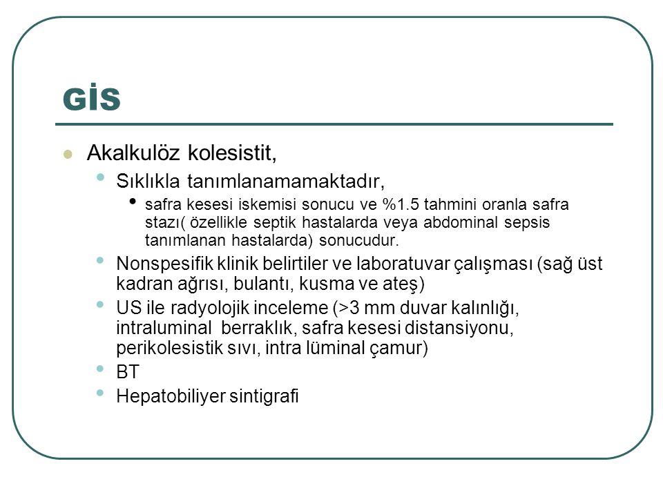 GİS Akalkulöz kolesistit, Sıklıkla tanımlanamamaktadır, safra kesesi iskemisi sonucu ve %1.5 tahmini oranla safra stazı( özellikle septik hastalarda v