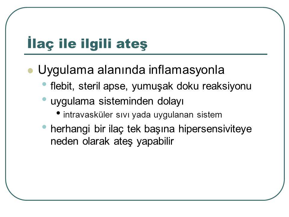 İlaç ile ilgili ateş Uygulama alanında inflamasyonla flebit, steril apse, yumuşak doku reaksiyonu uygulama sisteminden dolayı intravasküler sıvı yada