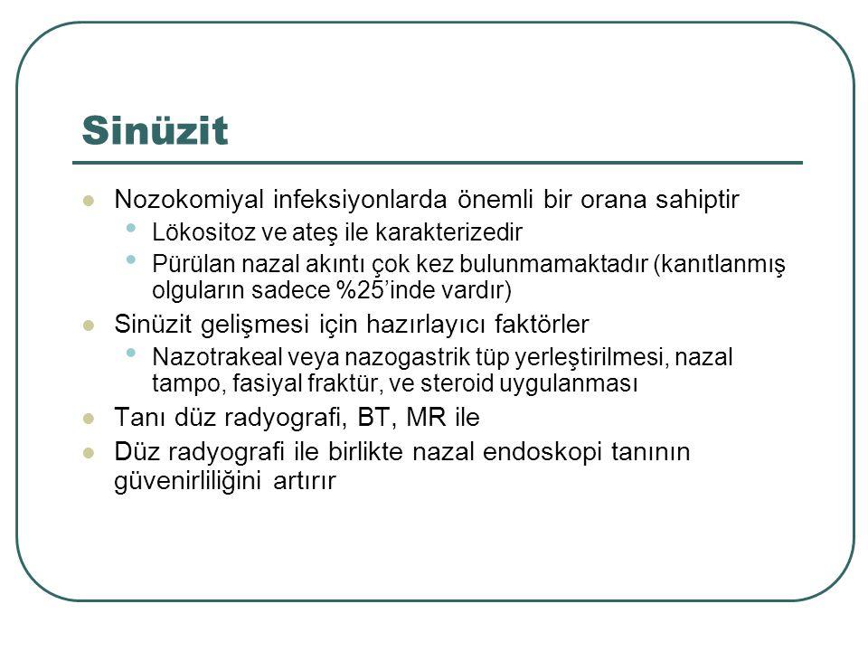 Sinüzit Nozokomiyal infeksiyonlarda önemli bir orana sahiptir Lökositoz ve ateş ile karakterizedir Pürülan nazal akıntı çok kez bulunmamaktadır (kanıt