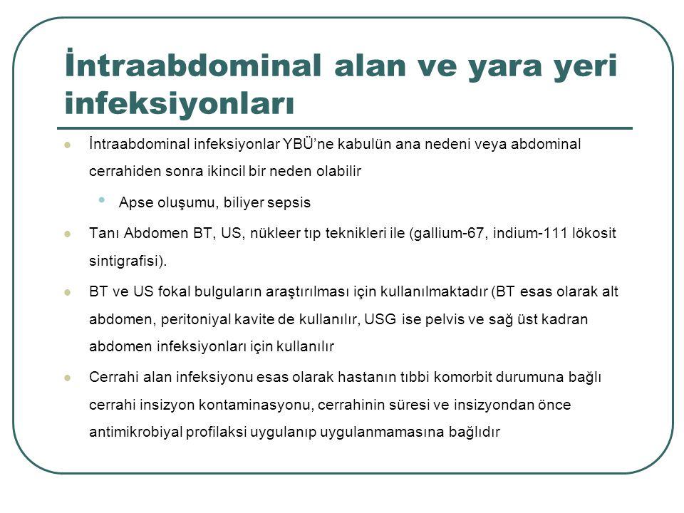 İntraabdominal alan ve yara yeri infeksiyonları İntraabdominal infeksiyonlar YBÜ'ne kabulün ana nedeni veya abdominal cerrahiden sonra ikincil bir ned