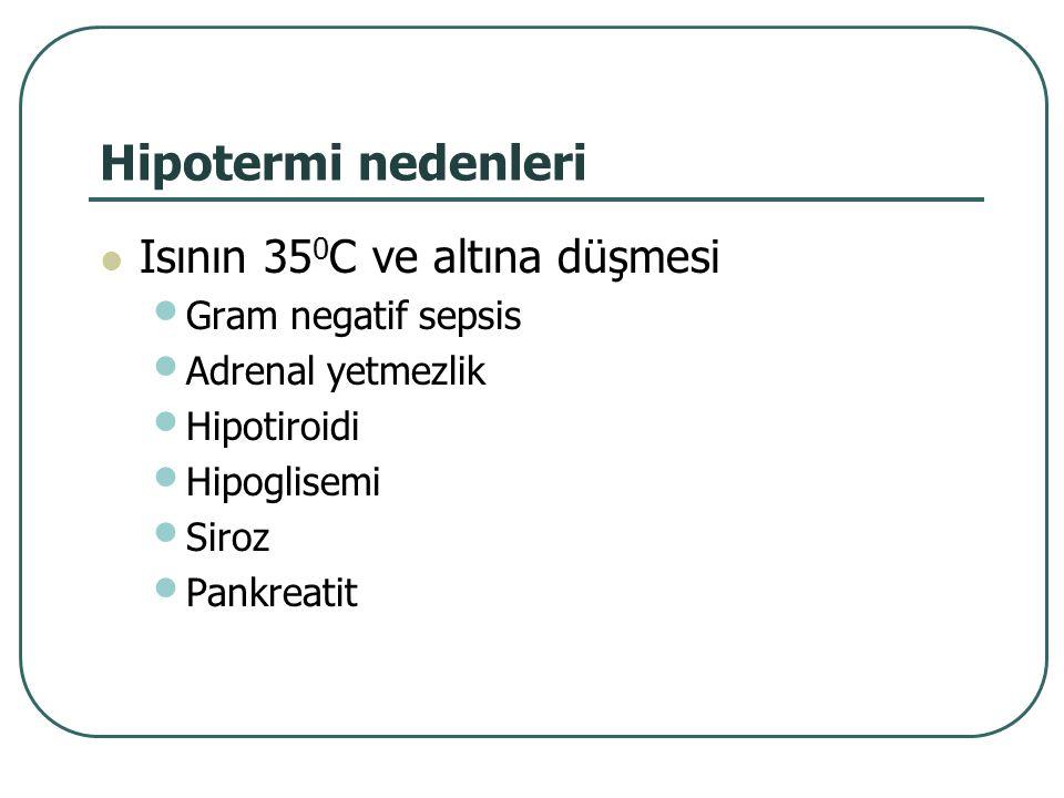 Hipotermi nedenleri Isının 35 0 C ve altına düşmesi Gram negatif sepsis Adrenal yetmezlik Hipotiroidi Hipoglisemi Siroz Pankreatit