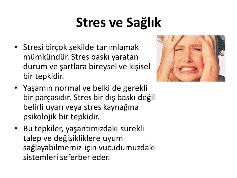 Stres ve Sağlık Stresi birçok şekilde tanımlamak mümkündür. Stres baskı yaratan durum ve şartlara bireysel ve kişisel bir tepkidir. Yaşamın normal ve