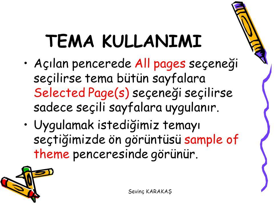Açılan pencerede All pages seçeneği seçilirse tema bütün sayfalara Selected Page(s) seçeneği seçilirse sadece seçili sayfalara uygulanır. Uygulamak is