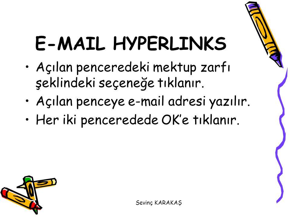 Sevinç KARAKAŞ Açılan penceredeki mektup zarfı şeklindeki seçeneğe tıklanır. Açılan penceye e-mail adresi yazılır. Her iki penceredede OK'e tıklanır.