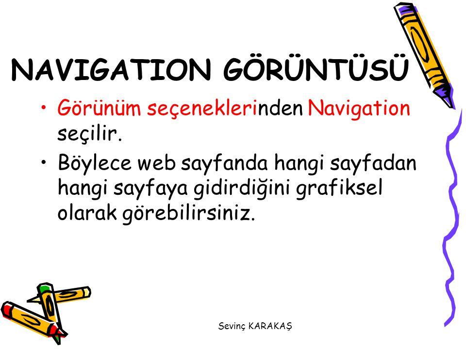 NAVIGATION GÖRÜNTÜSÜ Görünüm seçeneklerinden Navigation seçilir. Böylece web sayfanda hangi sayfadan hangi sayfaya gidirdiğini grafiksel olarak görebi