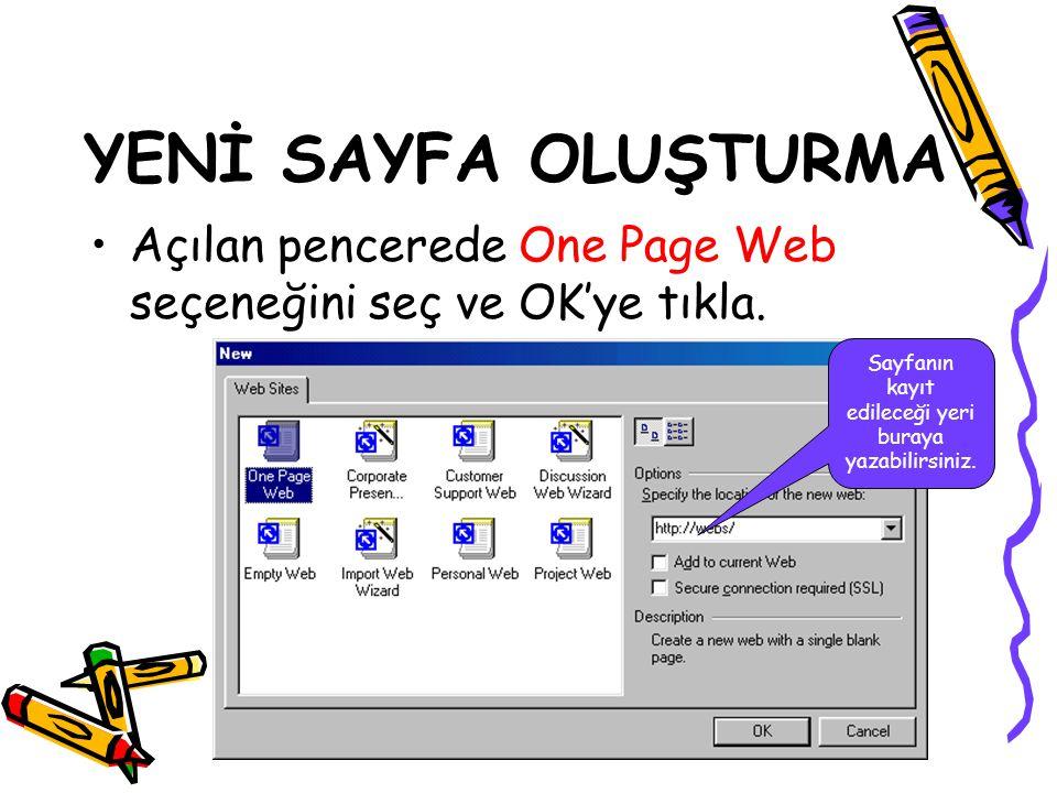 Sevinç KARAKAŞ Açılan pencerede One Page Web seçeneğini seç ve OK'ye tıkla. YENİ SAYFA OLUŞTURMA Sayfanın kayıt edileceği yeri buraya yazabilirsiniz.