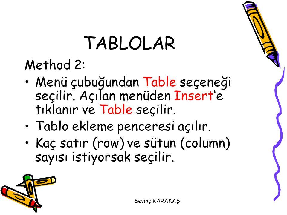 Sevinç KARAKAŞ Method 2: Menü çubuğundan Table seçeneği seçilir. Açılan menüden Insert'e tıklanır ve Table seçilir. Tablo ekleme penceresi açılır. Kaç