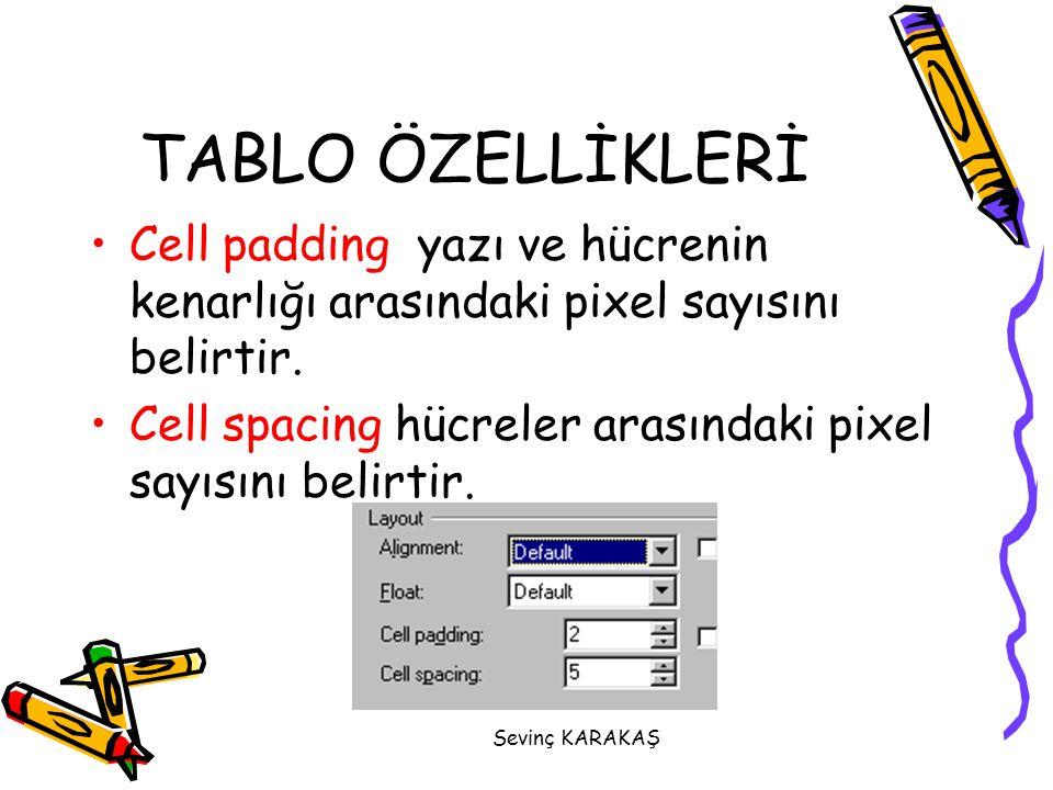 Sevinç KARAKAŞ Cell padding yazı ve hücrenin kenarlığı arasındaki pixel sayısını belirtir. Cell spacing hücreler arasındaki pixel sayısını belirtir. T