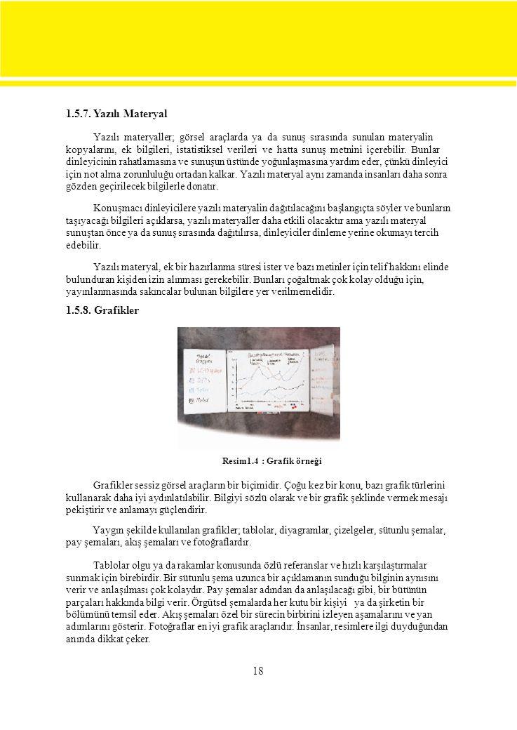 18 1.5.7. Yazılı Materyal Yazılı materyaller; görsel araçlarda ya da sunuş sırasında sunulan materyalin kopyalarını, ek bilgileri, istatistiksel veril