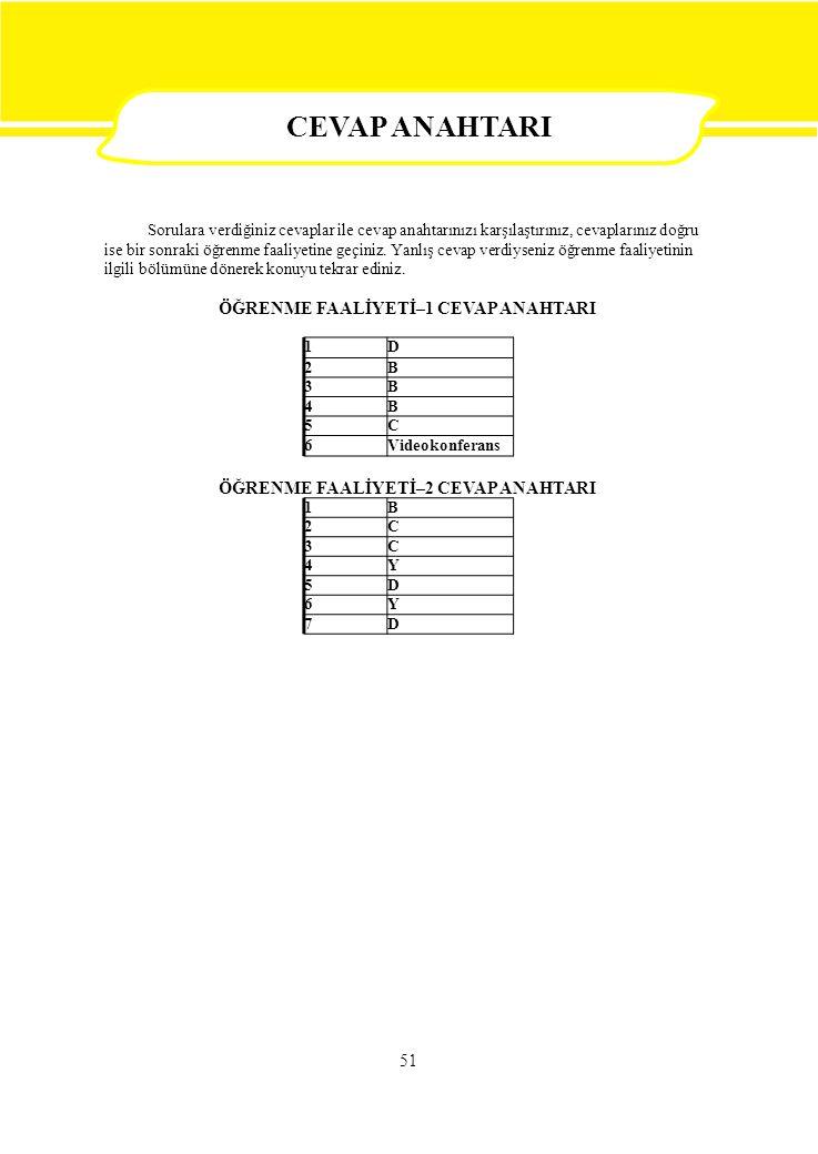 1B 2C 3C 4Y 5D 6Y 7D 1D 2B 3B 4B 5C 6Videokonferans 51 Sorulara verdiğiniz cevaplar ile cevap anahtarınızı karşılaştırınız, cevaplarınız doğru ise bir sonraki öğrenme faaliyetine geçiniz.