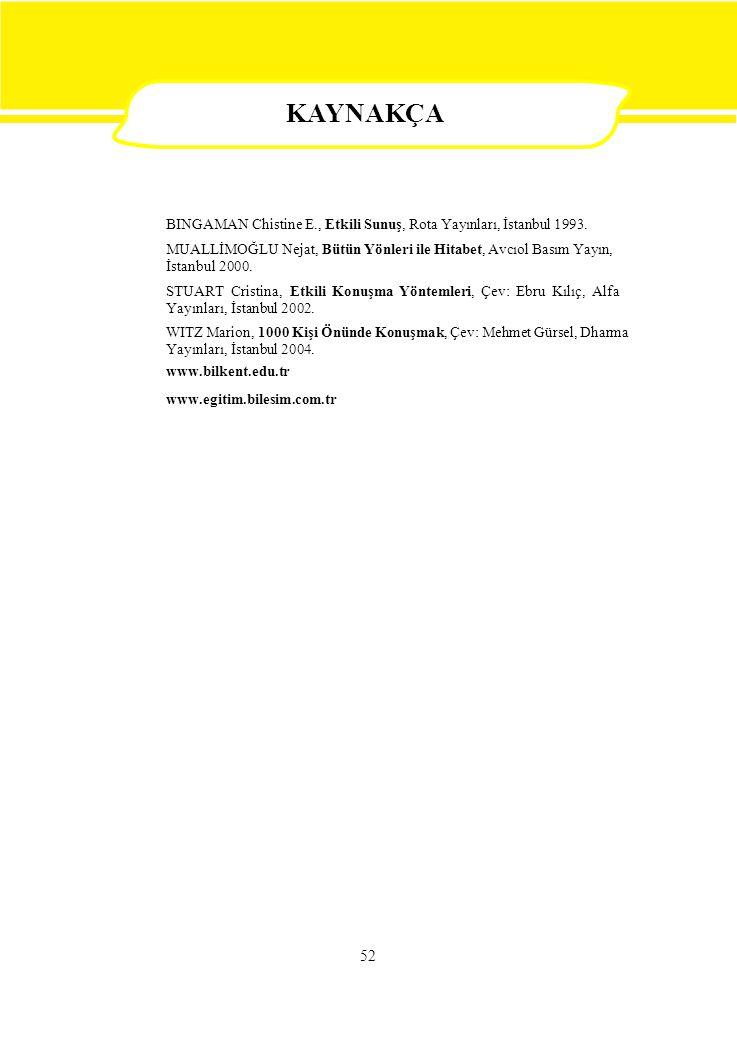 52 BINGAMAN Chistine E., Etkili Sunuş, Rota Yayınları, İstanbul 1993. MUALLİMOĞLU Nejat, Bütün Yönleri ile Hitabet, Avcıol Basım Yayın, İstanbul 2000.