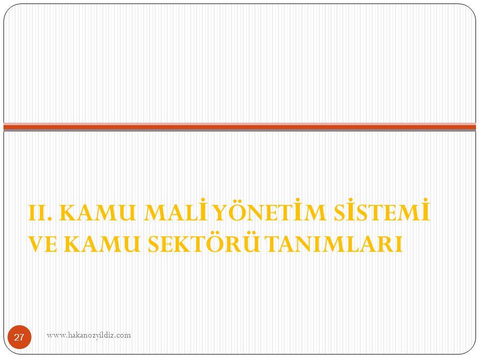 II. KAMU MAL İ YÖNET İ M S İ STEM İ VE KAMU SEKTÖRÜ TANIMLARI www.hakanozyildiz.com 27