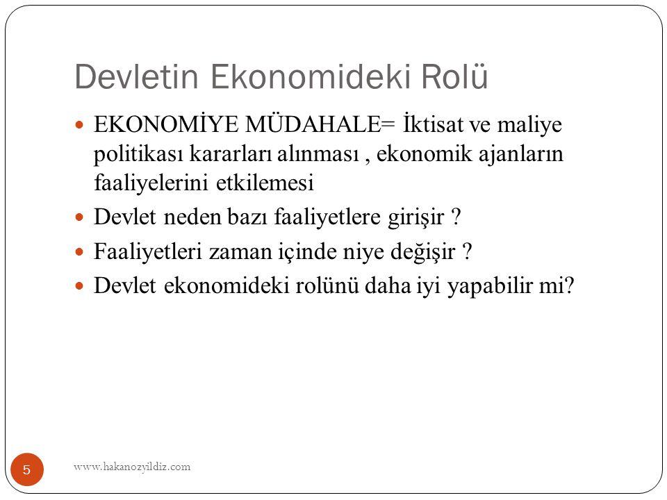 Devletin Ekonomideki Rolü www.hakanozyildiz.com 5 EKONOMİYE MÜDAHALE= İktisat ve maliye politikası kararları alınması, ekonomik ajanların faaliyelerini etkilemesi Devlet neden bazı faaliyetlere girişir .