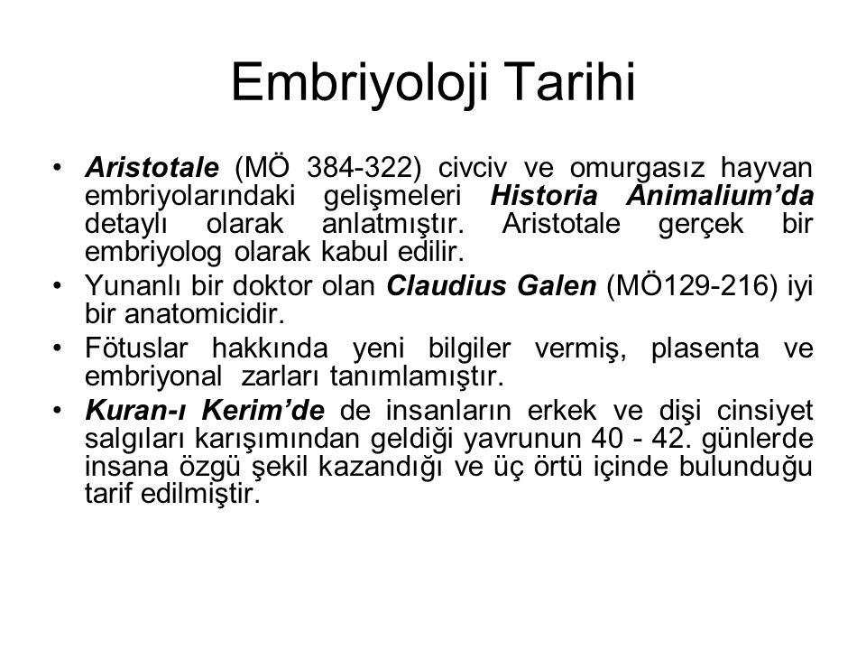 Embriyoloji Tarihi Aristotale (MÖ 384-322) civciv ve omurgasız hayvan embriyolarındaki gelişmeleri Historia Animalium'da detaylı olarak anlatmıştır. A