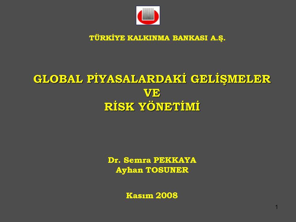1 GLOBAL PİYASALARDAKİ GELİŞMELER VE RİSK YÖNETİMİ Dr. Semra PEKKAYA Ayhan TOSUNER Kasım 2008 TÜRKİYE KALKINMA BANKASI A.Ş.