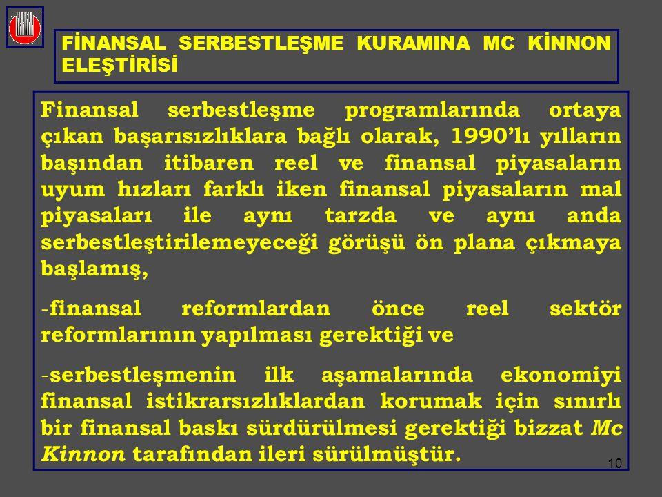 10 FİNANSAL SERBESTLEŞME KURAMINA MC KİNNON ELEŞTİRİSİ Finansal serbestleşme programlarında ortaya çıkan başarısızlıklara bağlı olarak, 1990'lı yıllar