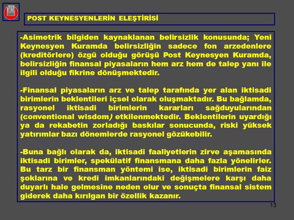 13 POST KEYNESYENLERİN ELEŞTİRİSİ -Asimetrik bilgiden kaynaklanan belirsizlik konusunda; Yeni Keynesyen Kuramda belirsizliğin sadece fon arzedenlere (