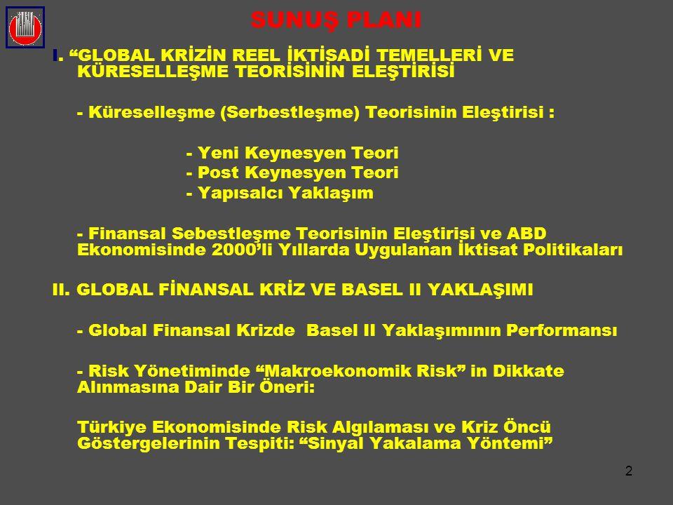 """2 SUNUŞ PLANI I. """"GLOBAL KRİZİN REEL İKTİSADİ TEMELLERİ VE KÜRESELLEŞME TEORİSİNİN ELEŞTİRİSİ - Küreselleşme (Serbestleşme) Teorisinin Eleştirisi : -"""