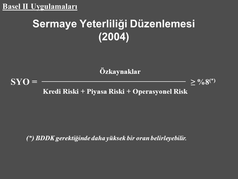 Sermaye Yeterliliği Düzenlemesi (2004) Özkaynaklar Kredi Riski + Piyasa Riski + Operasyonel Risk ≥ %8 (*) Basel II Uygulamaları (*) BDDK gerektiğinde