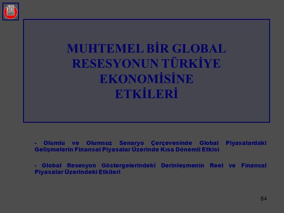 64 MUHTEMEL BİR GLOBAL RESESYONUN TÜRKİYE EKONOMİSİNE ETKİLERİ - Olumlu ve Olumsuz Senaryo Çerçevesinde Global Piyasalardaki Gelişmelerin Finansal Piy