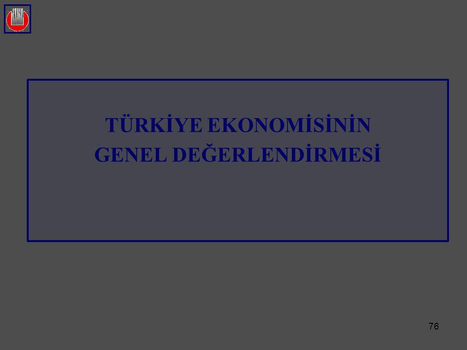 76 TÜRKİYE EKONOMİSİNİN GENEL DEĞERLENDİRMESİ