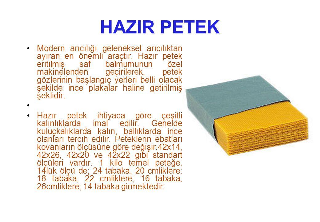 HAZIR PETEK Modern arıcılığı geleneksel arıcılıktan ayıran en önemli araçtır.