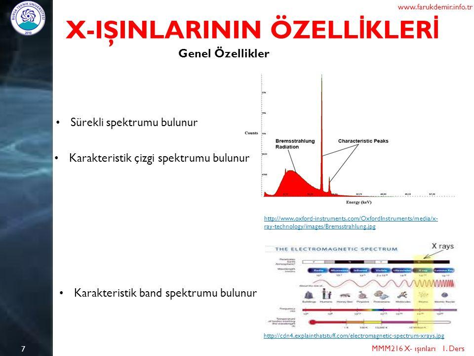 7 X-IŞINLARININ ÖZELL İ KLER İ MMM216 X- ışınları 1. Ders www.farukdemir.info.tr Genel Özellikler Sürekli spektrumu bulunur http://www.oxford-instrume
