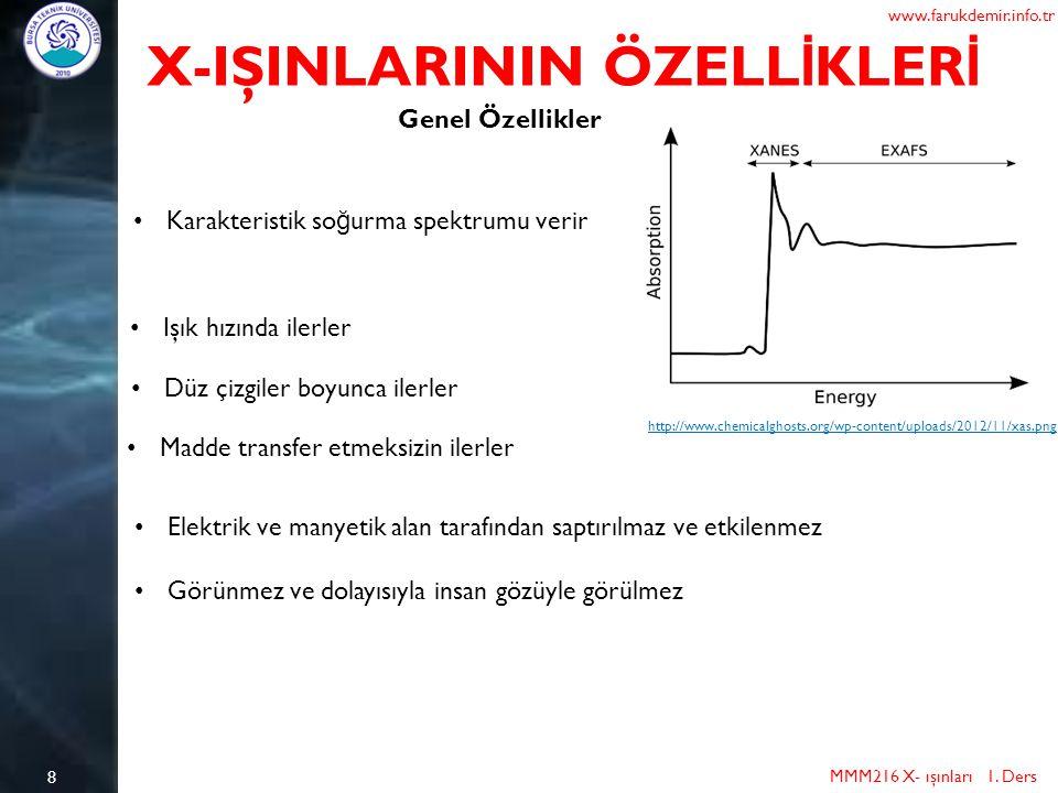 8 X-IŞINLARININ ÖZELL İ KLER İ MMM216 X- ışınları 1. Ders www.farukdemir.info.tr Genel Özellikler http://www.chemicalghosts.org/wp-content/uploads/201