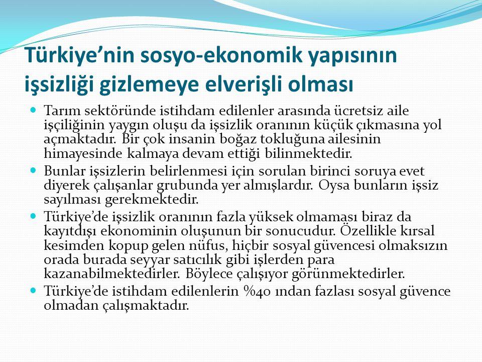Türkiye'nin sosyo-ekonomik yapısının işsizliği gizlemeye elverişli olması Tarım sektöründe istihdam edilenler arasında ücretsiz aile işçiliğinin yaygı