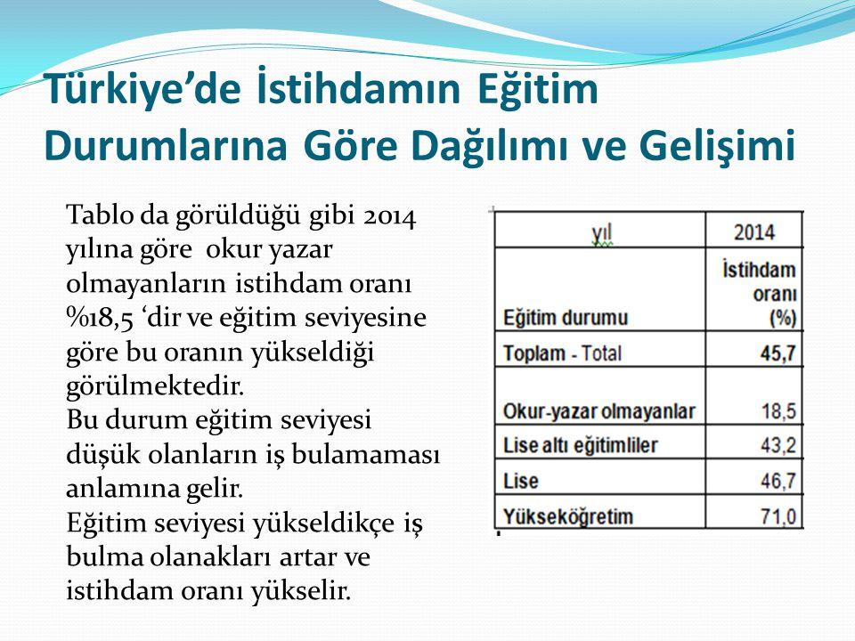 Türkiye'de İstihdamın Eğitim Durumlarına Göre Dağılımı ve Gelişimi Tablo da görüldüğü gibi 2014 yılına göre okur yazar olmayanların istihdam oranı %18