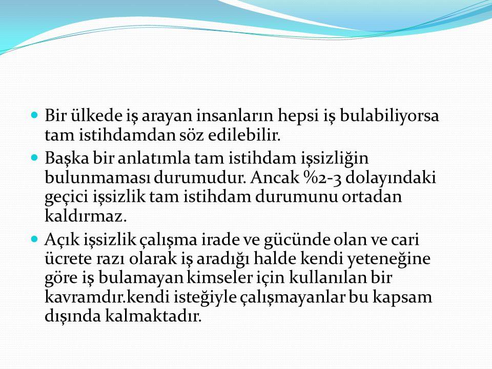 Türkiye'deki İşsizliğin Azalma Eğiliminde Görünmesinin Nedenleri 2.
