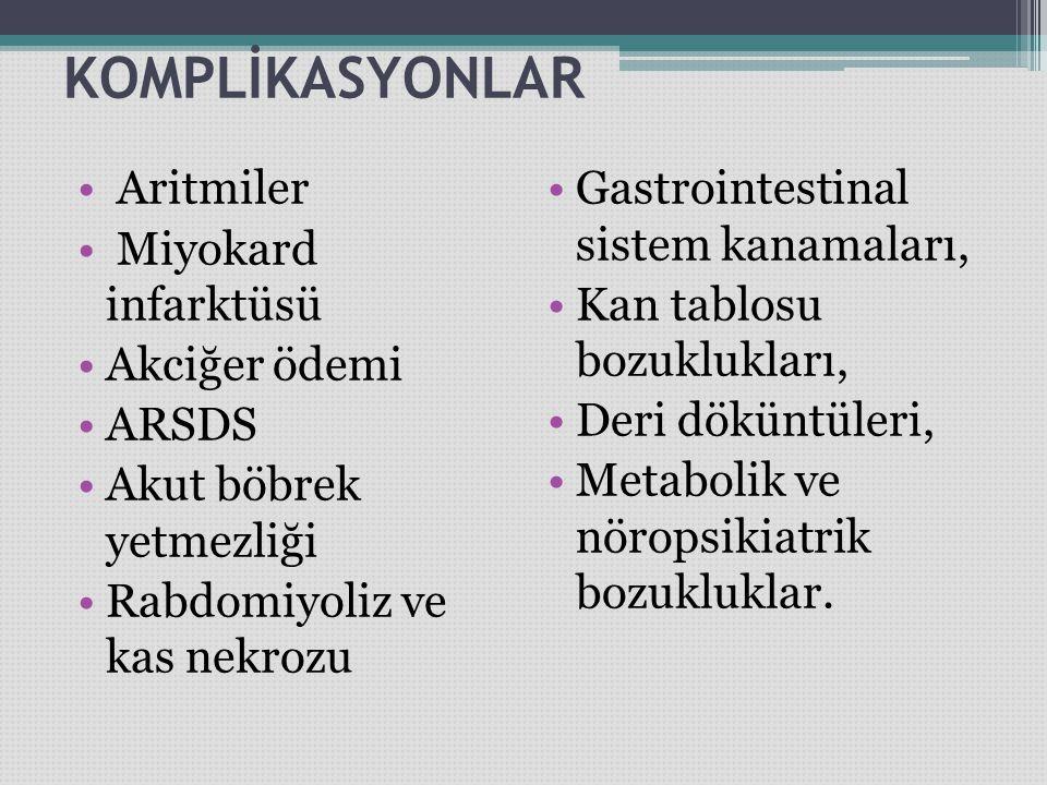 KOMPLİKASYONLAR Aritmiler Miyokard infarktüsü Akciğer ödemi ARSDS Akut böbrek yetmezliği Rabdomiyoliz ve kas nekrozu Gastrointestinal sistem kanamalar