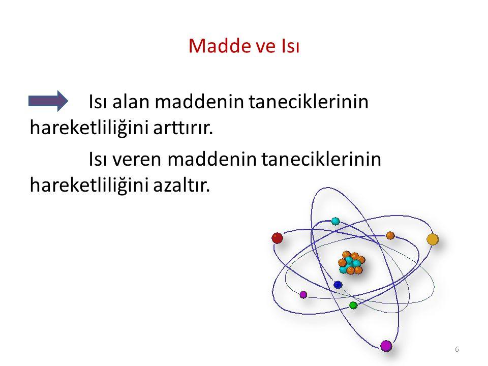 Madde ve ısı Maddenin tanecikleri sürekli hareket halindedir.