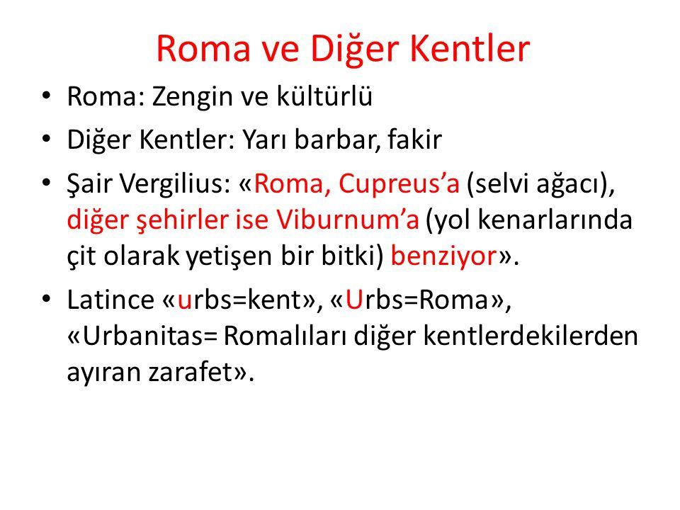 Roma ve Diğer Kentler Roma: Zengin ve kültürlü Diğer Kentler: Yarı barbar, fakir Şair Vergilius: «Roma, Cupreus'a (selvi ağacı), diğer şehirler ise Vi