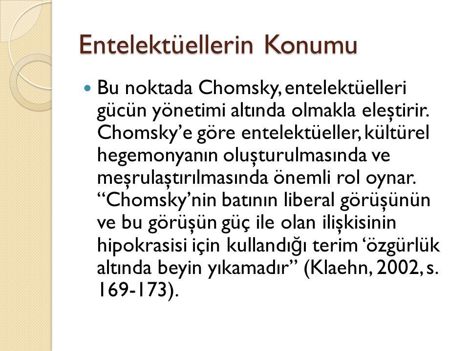 Entelektüellerin Konumu Bu noktada Chomsky, entelektüelleri gücün yönetimi altında olmakla eleştirir. Chomsky'e göre entelektüeller, kültürel hegemony