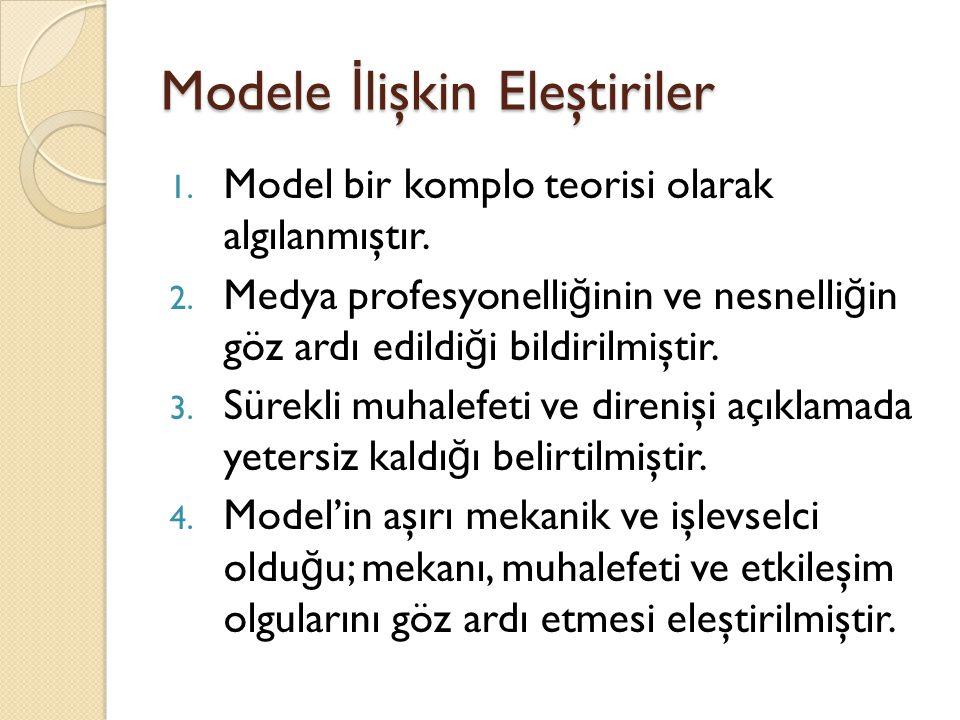 Modele İ lişkin Eleştiriler 1. Model bir komplo teorisi olarak algılanmıştır. 2. Medya profesyonelli ğ inin ve nesnelli ğ in göz ardı edildi ğ i bildi